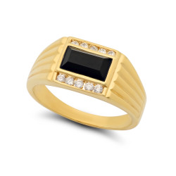 11mm 14k Gold Plated CZ Flanked Baguette-Cut Black Simulated Onyx Ring + Microfiber