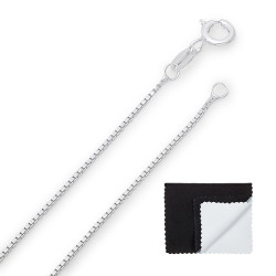 1mm Solid .925 Sterling Silver Square Box Chain Necklace