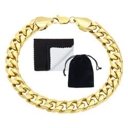 Men's 9.3mm 14k Yellow Gold Plated Flat Miami Cuban Link Chain Bracelet