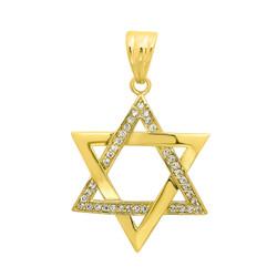Large 40mm 14k Gold Plated Jewish Star Of David Cubic Zirconia Pendant + Microfiber