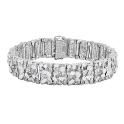 Thick 15mm Rhodium Plated Chunky Nugget Textured Large Link Bracelet + Microfiber