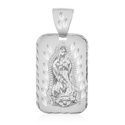 Diamond-Cut 0.25 mils (6 microns) Rhodium Plated Guadalupe (Virgin Mary) Pendant, 34mm x 21mm (⅓ inches' x ⅘ inches')