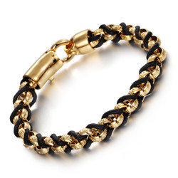Men's 9mm Polished Gold Plated Stainless Steel Round Rolo Chain Bracelet