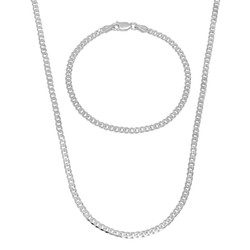 3mm Solid .925 Sterling Silver Flat Cuban Link Curb Chain Necklace + Bracelet Set + Gift Box