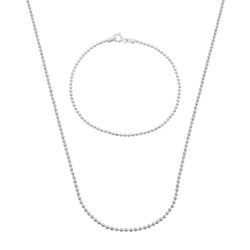 1.8mm Solid .925 Sterling Silver Military Ball Chain Necklace + Bracelet Set