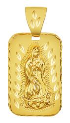 Large 21mm x 34mm 14k Gold Plated Diamond-Cut Virgin Mary Pendant, + Microfiber