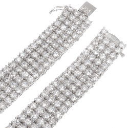 Men's 14mm Rhodium Plated Clear Cubic Zirconia Flat Link Chain Necklace