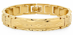 12mm 14k Gold Plated Diamond-Cut Thick ID Style Chain Link Bracelet + Microfiber
