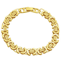 9mm High-Polished 0.25 mils (6 microns) 14k Yellow Gold Plated Flat Byzantine Chain Bracelet, 7 inches