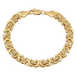 9mm 14k Yellow Gold Plated Flat Byzantine Chain Bracelet
