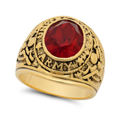 Large 15mm 14k Gold Plated Simulated Ruby Red CZ Army Military Ring + Microfiber