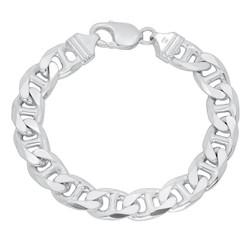 Men's 11.5mm Solid .925 Sterling Silver Flat Mariner Chain Bracelet