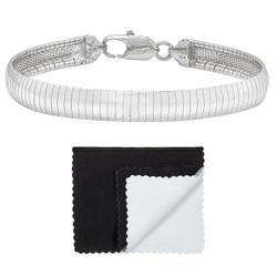 Women's 8mm Solid .925 Sterling Silver Flat Omega Omega Chain Link Bracelet