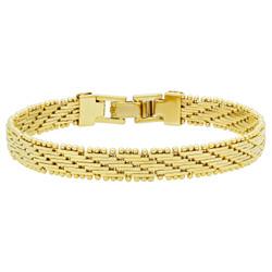7mm 14k Gold Plated Bracelet of Bar Links In Diagonal Pattern + Microfiber