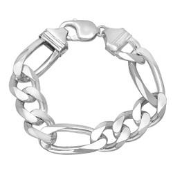 14.7mm Solid .925 Sterling Silver Flat Figaro Chain Bracelet