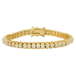 6mm 14k Yellow Gold Plated Clear Cubic Zirconia Flat Tennis Bracelet