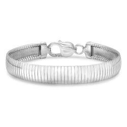 9mm Solid .925 Sterling Silver Flat Omega Omega Chain Link Bracelet