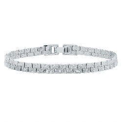 5.7mm Textured Rhodium Plated Flat Nugget Link Bracelet