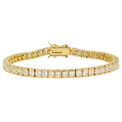 4mm 14k Yellow Gold Plated Clear Cubic Zirconia Flat Tennis Bracelet