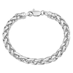 7mm Rhodium Plated Braided Wheat Chain Bracelet