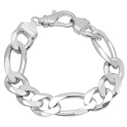 16.5mm Solid .925 Sterling Silver Flat Figaro Chain Bracelet