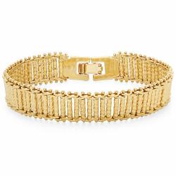 14k Yellow Gold Plated 13mm Diamond-Cut Ladder Style Chain Bracelet + Microfiber