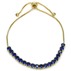 4mm Polished 14k Yellow Gold Plated Blue Cubic Zirconia Bolo Bracelet, 10 inches