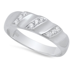 Men's 6.1mm Textured Silver Clear Cubic Zirconia Wedding Band Ring