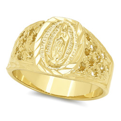 Men's 22mm 14k Yellow Gold Plated Virgin Mary Ring + Gift Box
