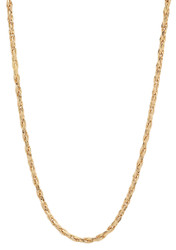 2.9mm 14k Yellow Gold Plated Braided Wheat Chain Necklace + Gift Box