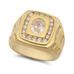 Men's 17mm 14k Yellow Gold Plated Clear Cubic Zirconia Square Solitaire Ring + Gift Box