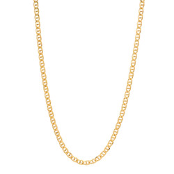 3.3mm 24k Yellow Gold Plated Flat Mariner Chain Necklace + Gift Box
