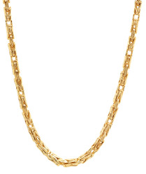 4.3mm 14k Yellow Gold Plated Flat Byzantine Chain Necklace
