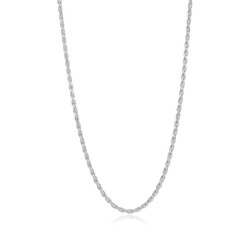 3.5mm Diamond-Cut Rhodium Plated Silver Twisted Rope Chain Necklace