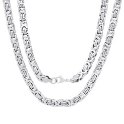 Men's 6.7mm High-Polished Stainless Steel Flat Byzantine Chain Necklace