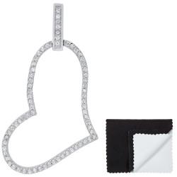 Women's .925 Sterling Silver Nickel Free CZ Open Heart Pendant, 37mm x 24mm (1 ⅖' x 1' )