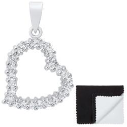 Women's .925 Sterling Silver Nickel Free CZ Open Heart Pendant, 20mm x 19mm (⅘' x ¾')