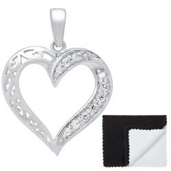 Women's .925 Sterling Silver Nickel Free CZ Open Heart Pendant, 22mm x 22mm (⅞' x ⅞')