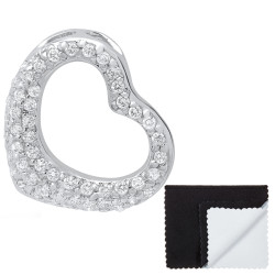 Women's .925 Sterling Silver Nickel Free CZ Open Heart Pendant, 23mm x 21mm (⅞' x ⅘')