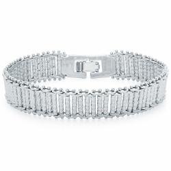 13mm Diamond-Cut Rhodium Plated Chain Link Bracelet