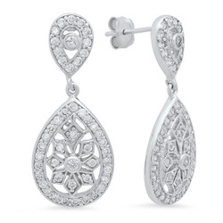 Sterling Silver 32mm x 13.5mm Intricate CZ Lined Teardrop Earrings Made in Italy + Bonus Polishing Cloth