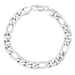 Men's 8.8mm High-Polished Stainless Steel Flat Figaro Chain Bracelet
