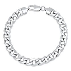 Men's 9.4mm High-Polished Stainless Steel Flat Curb Chain Bracelet