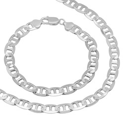 8mm Solid .925 Sterling Silver Flat Mariner Chain Necklace + Bracelet Set + Gift Box