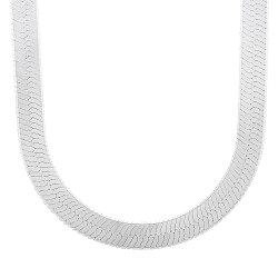 9.6mm Solid .925 Sterling Silver Flat Herringbone Chain Necklace