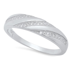 Men's 5.1mm Solid .925 Sterling Silver Clear Cubic Zirconia Domed Wedding Band Ring