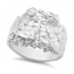 Men's 21mm Rhodium Plated Flat Nugget Ring + Gift Box