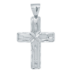Large 32mm x 45mm Rhodium Plated Striated Textured Cross Pendant + Microfiber