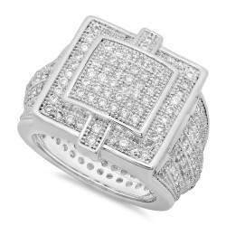 Men's 20mm Rhodium Plated White Cubic Zirconia Flat Iced Out Ring