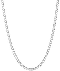 4.4mm .925 Sterling Silver Diamond-Cut Flat Cuban Link Curb Chain Necklace + Gift Box